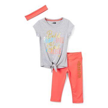 RBX Gray Heather 'Beautiful' Performance Leggings Set - Toddler