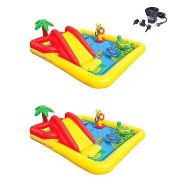 Intex Inflatable Ocean Play Center Kids Backyard Pool (2 Pack) + Air Pump