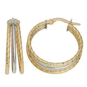 Fremada 10k Two-tone Gold Diamond-cut and High Polish Triple Hoop Earrings (Hoop earrings)