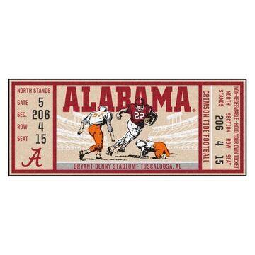 FANMATS Alabama Crimson Tide NCAA Ticket Runner 2 x 6 Red Indoor Sports Runner