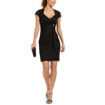 Betsy & Adam Embellished Open-Back Sheath Dress