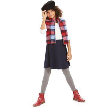 Big Girls 2-Pc. Plaid Vest & Colorblocked Dress Set