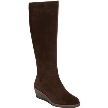 Aerosoles Wedge Knee High Suede Boots - Binocular