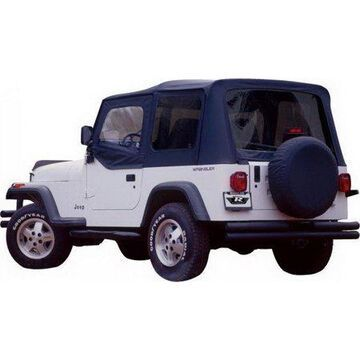 Rampage Complete Soft Top with Tinted WIndows and Door Uppers (Black Denim) - 68215