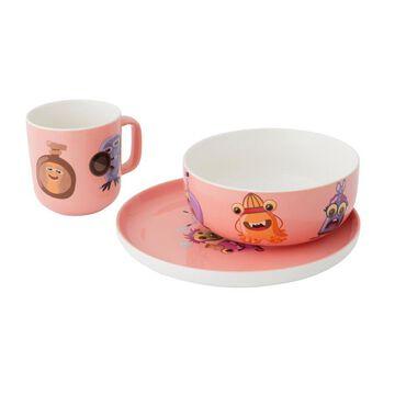 BergHOFF Essentials Monster Chefs 3pc Porcelain Set- Pink