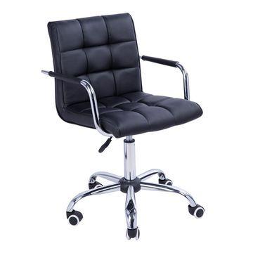 HOMCOM Modern PU Leather Midback Small Office Chair (Black)