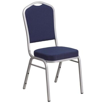 Flash Furniture Modern Navy Fabric/Silver Frame Accent Chair in Blue