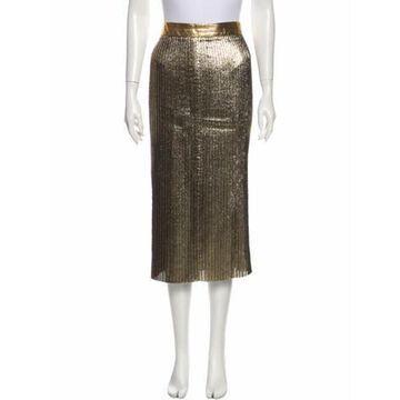 Leather Trim Embellishment Midi Length Skirt Gold
