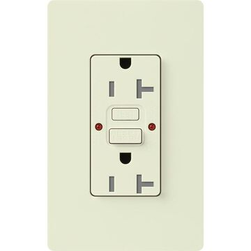 Lutron Claro 20-Amp Tamper Resistant GFCI Residential Decorator Surge Outlet, Biscuit | SCR-20-GFST-BI