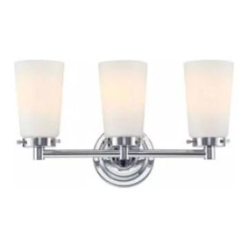 Alico Madison - Three Light Bath Vanity, Chrome Finish w/ White Opal G