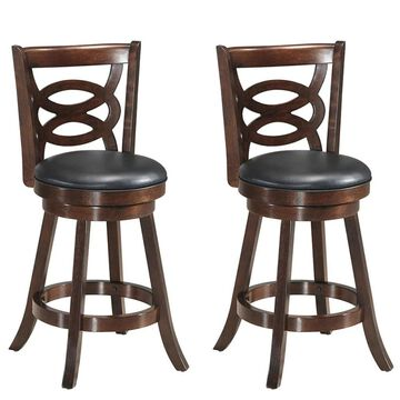 Goplus Costway Set of 2 Brown Tall (36-in and up) Upholstered Swivel Bar Stool | 2HW58967
