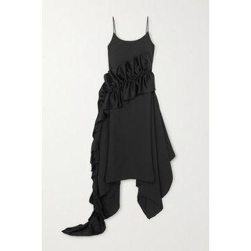 Christopher Kane - Ruffled Satin-trimmed Crepe Dress - Black