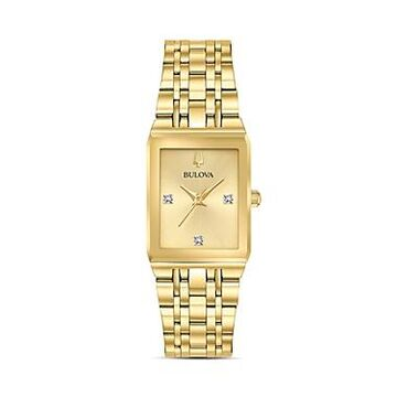 Bulova Futuro Quadra Gold-Tone Link Bracelet Watch, 20mm x 32mm