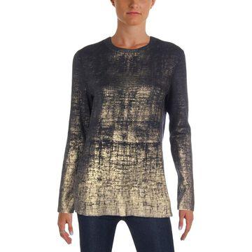 Lafayette 148 New York Womens Pullover Sweater Metallic Wool