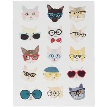 Intelligent Design Hip Cat Printed Dimensional Box Wall Art