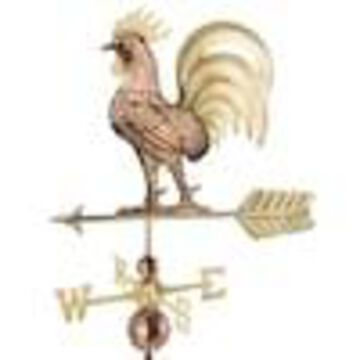 Good Directions Copper and Brass Copper Roof-mount Rooster Weathervane