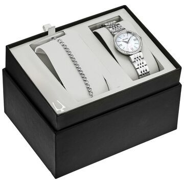 Bulova Women's Stainless Crystal Watch and Bracelet Boxed Set - Silver-Tone (Silver-Tone)