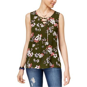 Hippie Rose Womens Lace-Up Tank Top