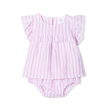 Douuod Stripe-print Ruffled Babygrow Set
