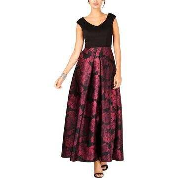 SL Fashions Womens Evening Dress Floral Print V-Neck