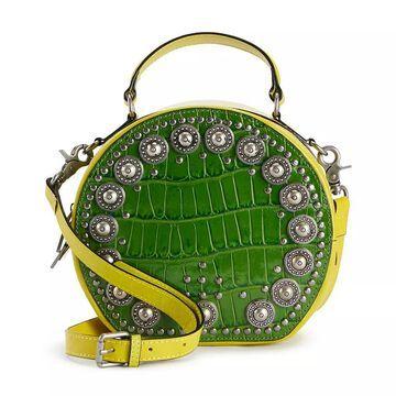 AmeriLeather Jetta Embellished Leather Crossbody Handbag, Green