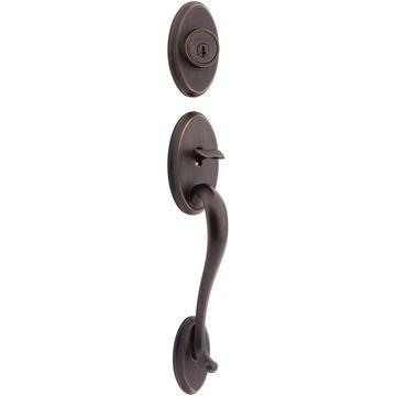Kwikset Signature Shelburne Venetian Bronze Smartkey Single-Cylinder Deadbolt Entry Door Exterior Handle