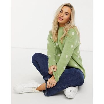 QED London polka dot oversized sweater in mint-Green