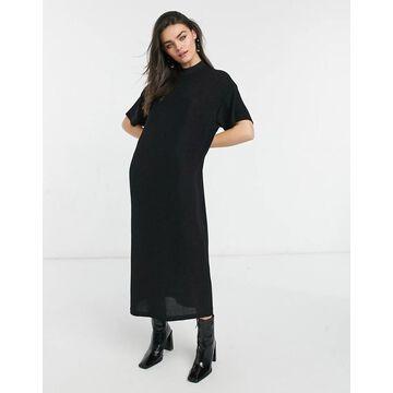 Dr Denim short sleeve maxi dress in black