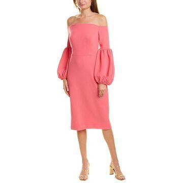 Lela Rose Off-The-Shoulder Wool-Blend Dress