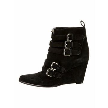 Suede Lace-Up Boots Black