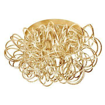 Dainolite Baya 15-in Gold Halogen Flush Mount Light | BAY-144FH-GLD