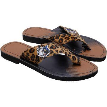 Minnesota Timberwolves Women's Cheetah Strap Flip Flops