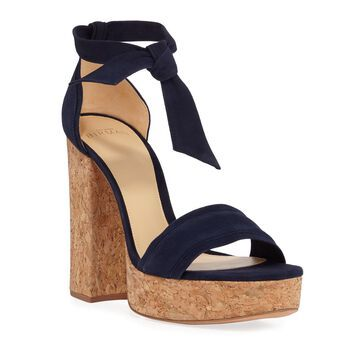 Celine Suede Chunky Cork Heeled Sandals