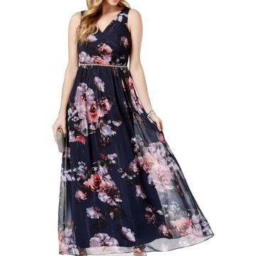 SL Fashions Gown Navy Blue Womens Size 4 Floral Print Shimmer Surplice