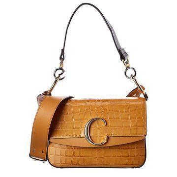 Chloe C Small Croc-Embossed Leather Shoulder Bag