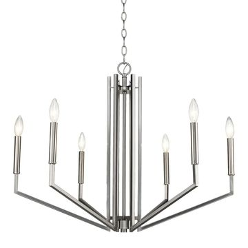 Acclaim Lighting Harper 6-Light Chandelier in Satin Nickel (Silver)