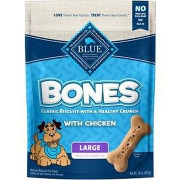 Blue Buffalo Bones Classic Biscuits Chicken Large Dog Treats, 16-oz bag