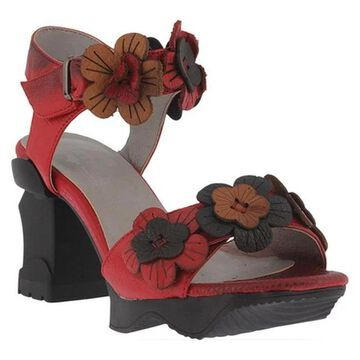 L'Artiste by Spring Step Women's Otileah Ankle Strap Sandal Red Leather