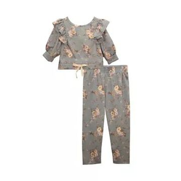Bonnie Jean Girls' Toddler Girls Floral 3/4 Sleeve Ruffle Top And Leggings - 2 Piece Set - -