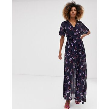 Liquorish wrap maxi dress with pleated skirt in floral-Multi