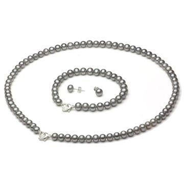 DaVonna Sterling Silver Freshwater Pearl Necklace Bracelet and Earring Set