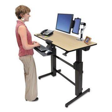 Ergotron WorkFit D Sit-Stand Workstation, 47 5/8 x 23 1/2 x 50 5/8, Birch/Black