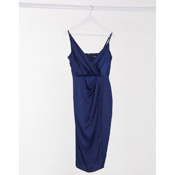 Little Mistress satin wrap midi dress in navy