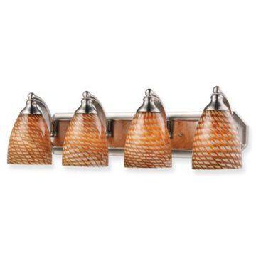 Elk Lighting 4-Light Vanity Strip With Coco Glass Shades In Satin Nickel