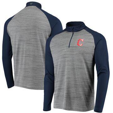 Levelwear Cleveland Indians Gray/Navy Vandal Raglan Quarter-Zip Pullover Jacket