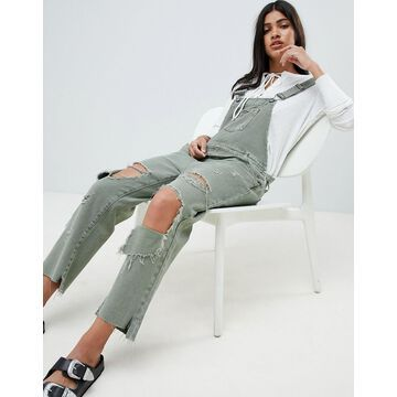 One Teaspoon Utility Overalls With Distressing-Green