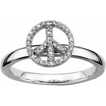 Sterling Silver Peace Symbol Diamond Ring