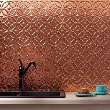Fasade Rings Polished Copper 15 sq. ft. Backsplash 15 Sq Ft Kit