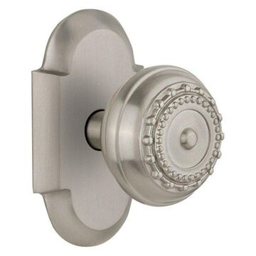 Double Cottage Plate With Meadows Knob, Satin Nickel