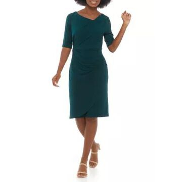 Connected Apparel Women's Short Sleeve Ruched Side Solid Dress - -